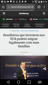 Visto EB5 George Cunha na Infomoney
