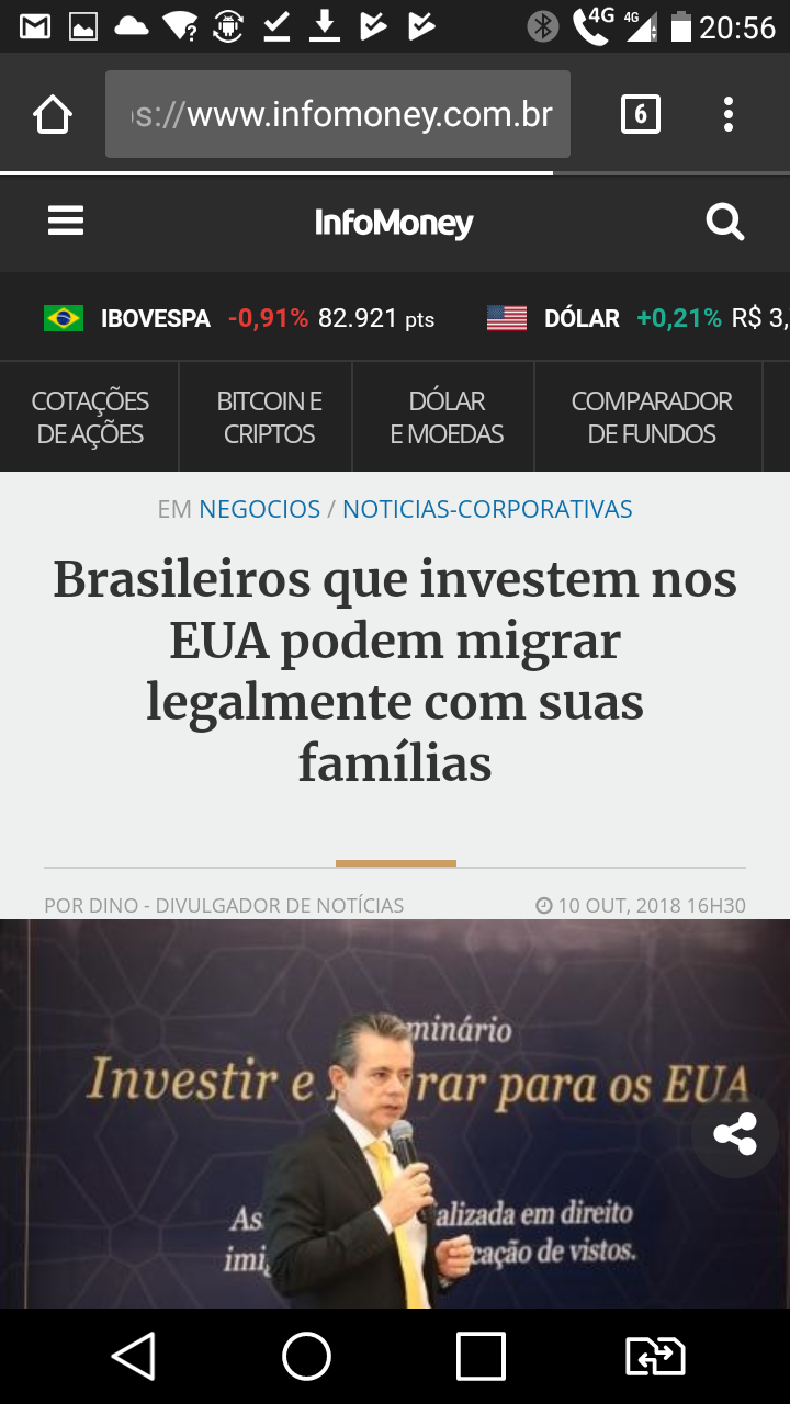 Visto EB5- George Cunha na Infomoney