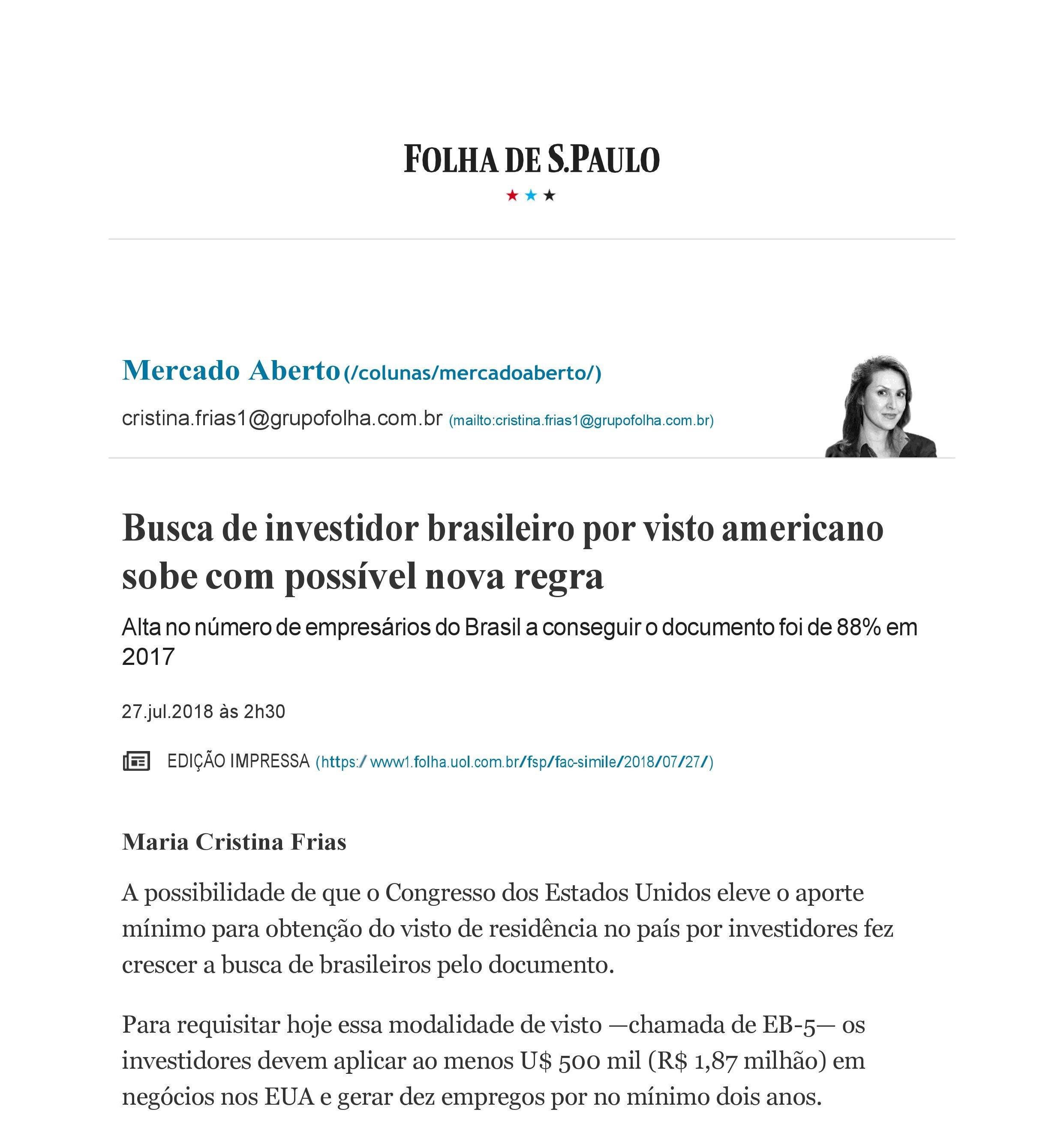 EB5 George Cunha na Folha de São Paulo