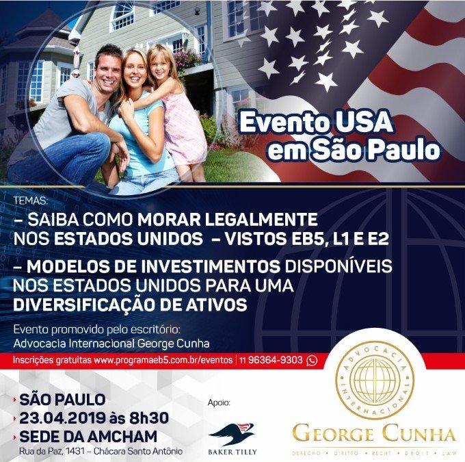 Evento EB5 em São Paulo – 23 de abril na sede da AMCHAM