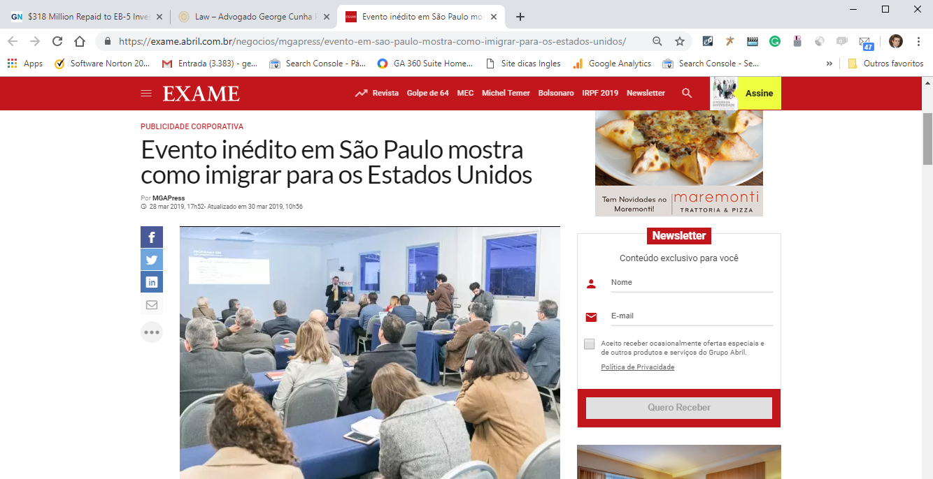 Advocacia Internacional George Cunha na Exame