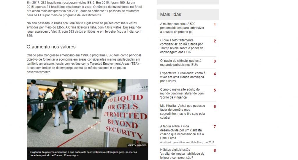 visto eb5 - George Cunha na Exame e BBC News Brasil